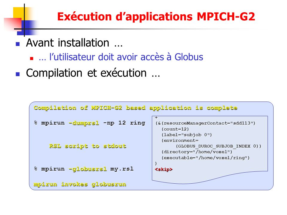 Exécution d'applications MPICH-G2