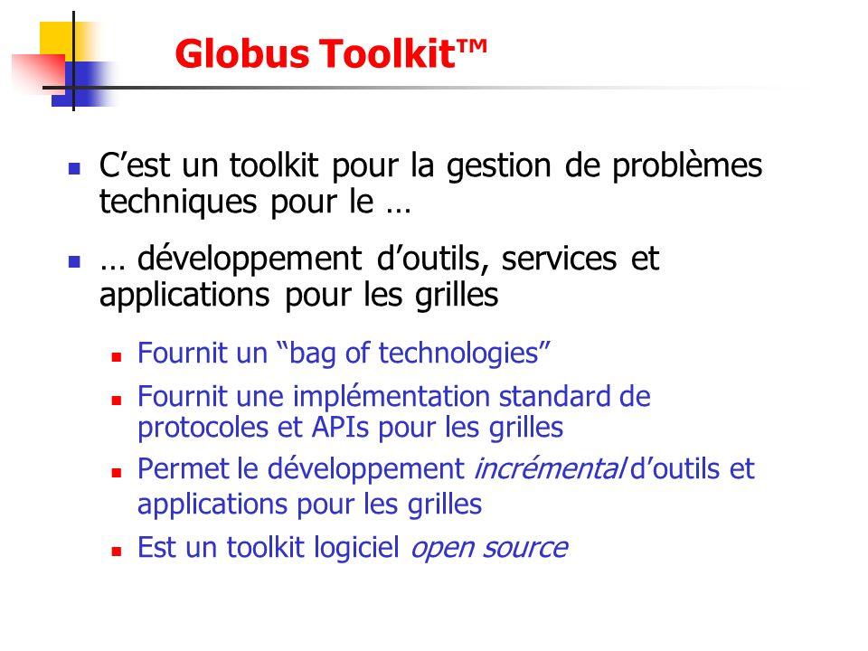 Globus Toolkit™C'est un toolkit pour la gestion de problèmes techniques pour le …