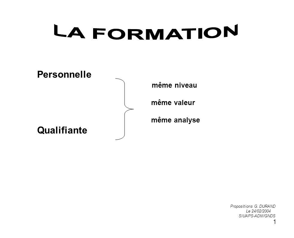 LA FORMATION même niveau même valeur même analyse Personnelle