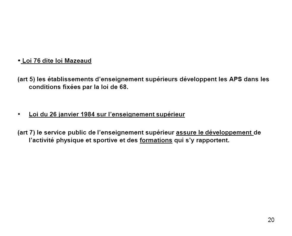  Loi 76 dite loi Mazeaud (art 5) les établissements d'enseignement supérieurs développent les APS dans les conditions fixées par la loi de 68.