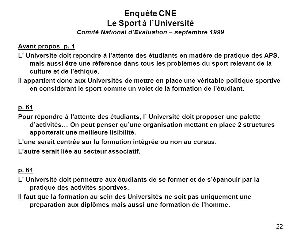 Enquête CNE Le Sport à l'Université Comité National d'Evaluation – septembre 1999