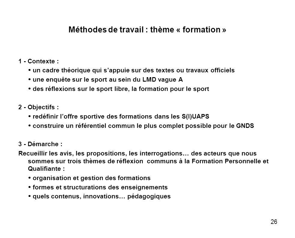 Méthodes de travail : thème « formation »