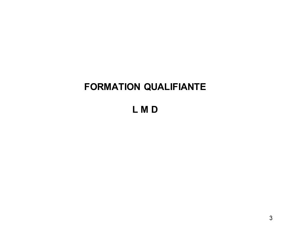FORMATION QUALIFIANTE L M D