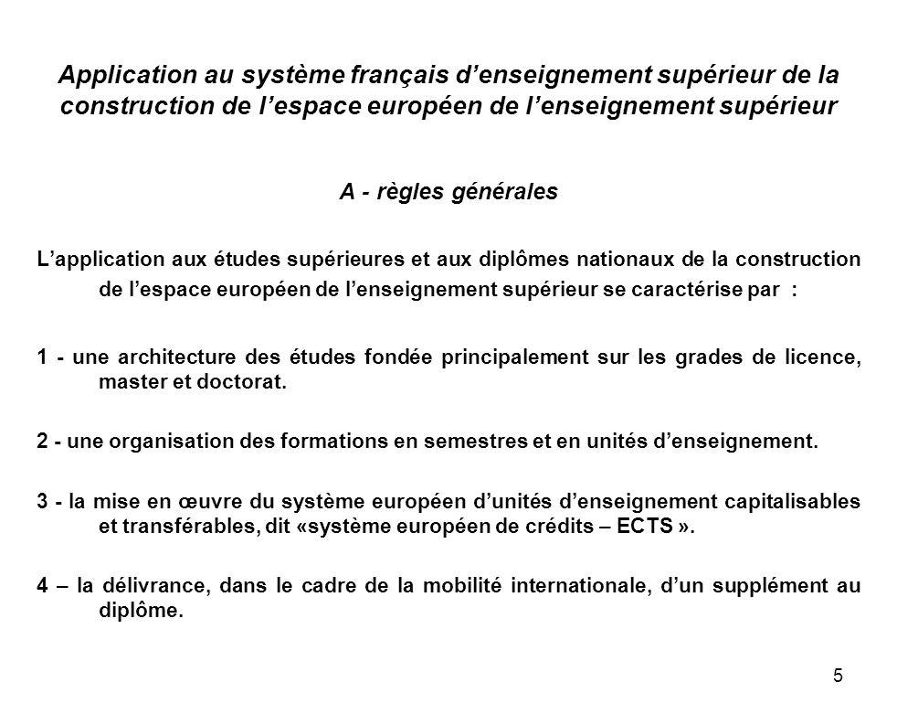 Application au système français d'enseignement supérieur de la construction de l'espace européen de l'enseignement supérieur