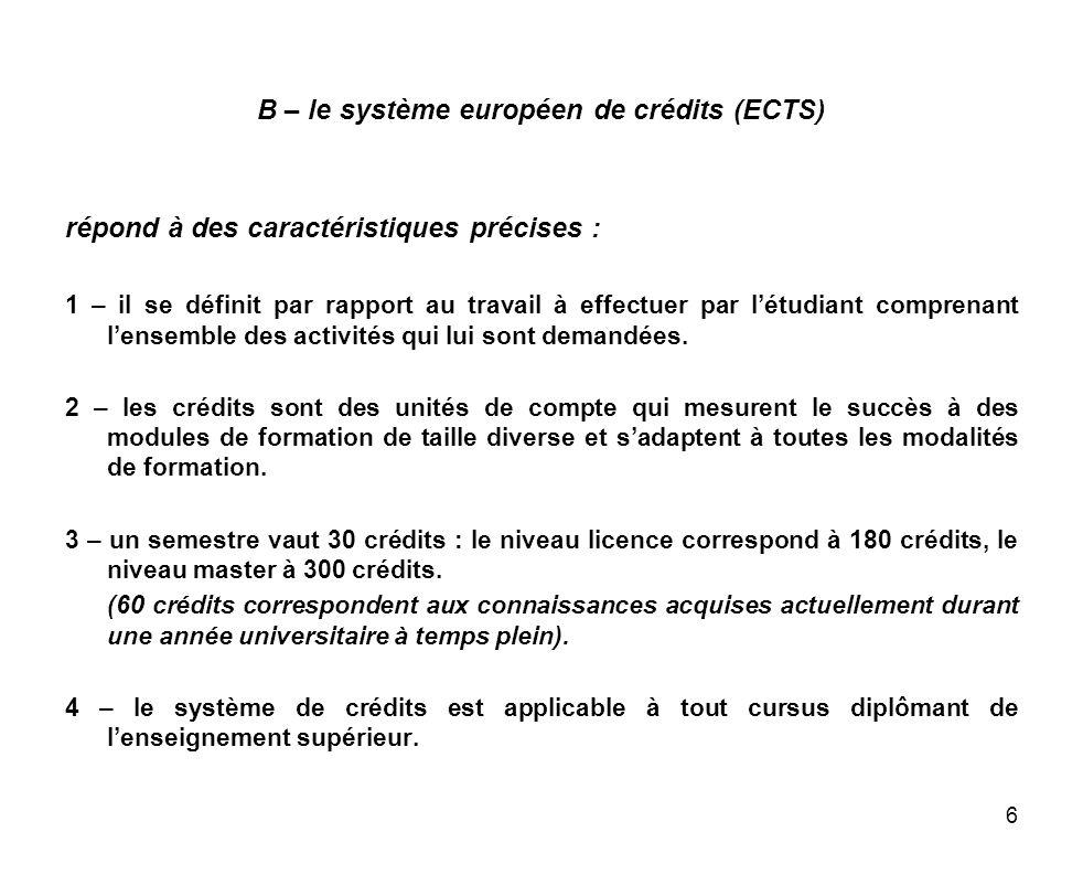 B – le système européen de crédits (ECTS)