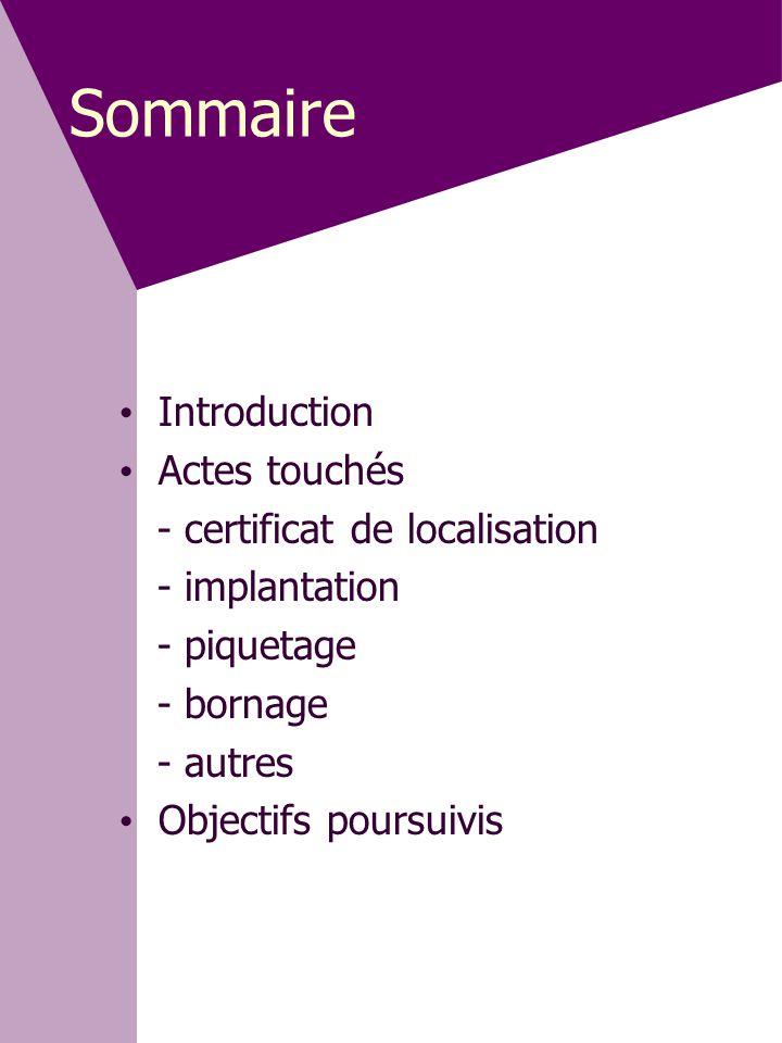 Sommaire Introduction Actes touchés - certificat de localisation