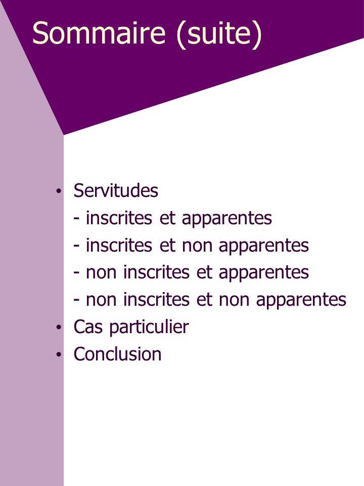 Sommaire (suite) Servitudes - inscrites et apparentes