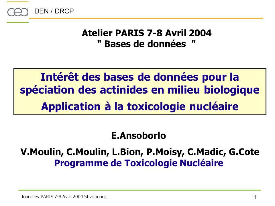 Application à la toxicologie nucléaire