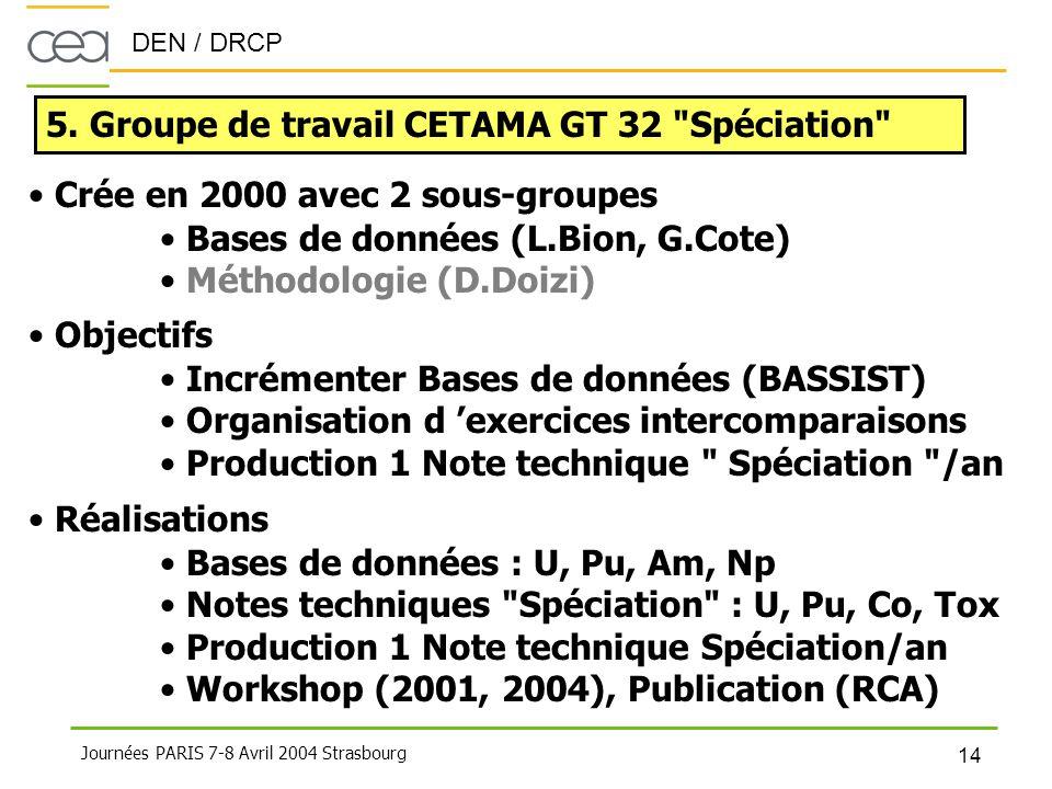 5. Groupe de travail CETAMA GT 32 Spéciation