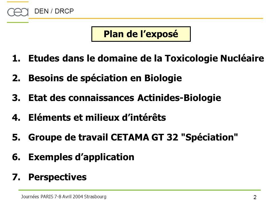 Plan de l'exposé Etudes dans le domaine de la Toxicologie Nucléaire. Besoins de spéciation en Biologie.