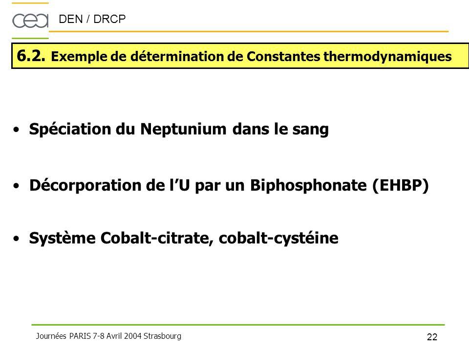 6.2. Exemple de détermination de Constantes thermodynamiques