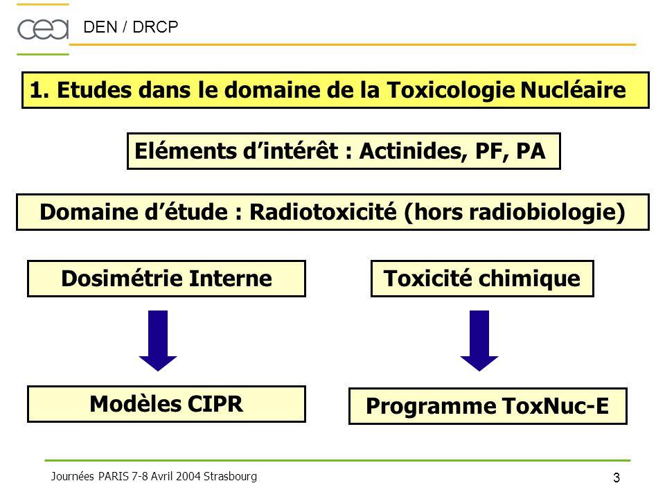 Domaine d'étude : Radiotoxicité (hors radiobiologie)