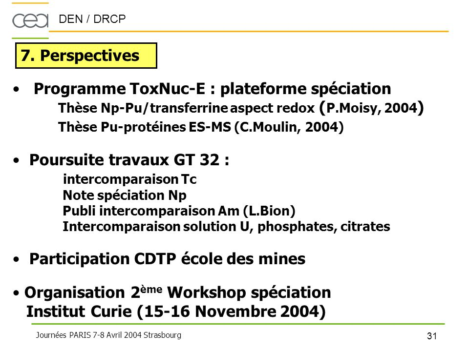 Programme ToxNuc-E : plateforme spéciation