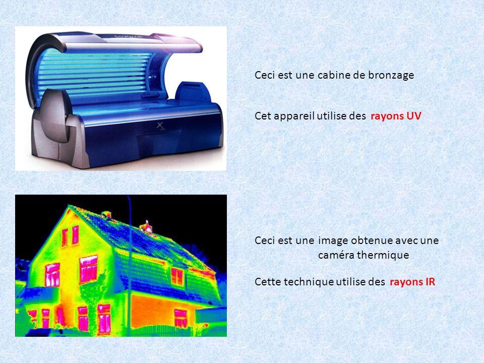 Ceci est une cabine de bronzage. Cet appareil utilise des. rayons UV. Ceci est une. image obtenue avec une caméra thermique.