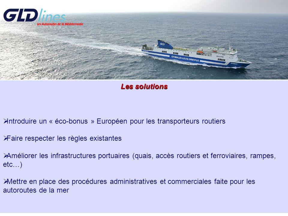 Les solutions Introduire un « éco-bonus » Européen pour les transporteurs routiers. Faire respecter les règles existantes.