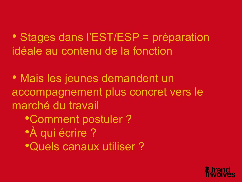 Stages dans l'EST/ESP = préparation idéale au contenu de la fonction