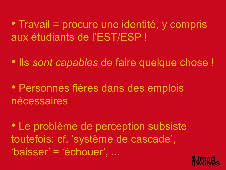 Travail = procure une identité, y compris aux étudiants de l'EST/ESP !