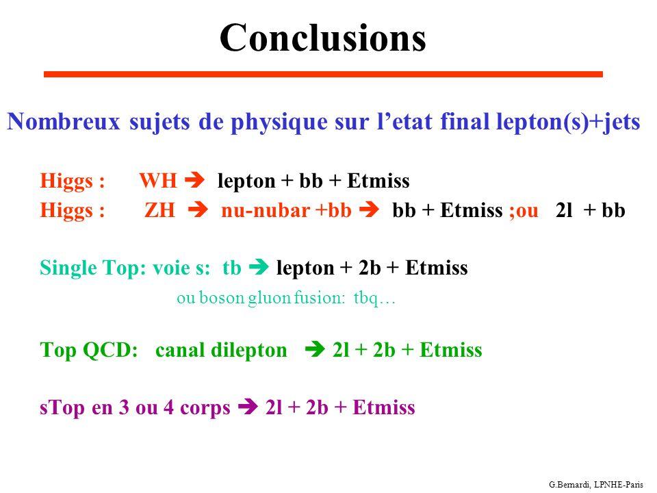 Conclusions Nombreux sujets de physique sur l'etat final lepton(s)+jets. Higgs : WH  lepton + bb + Etmiss.