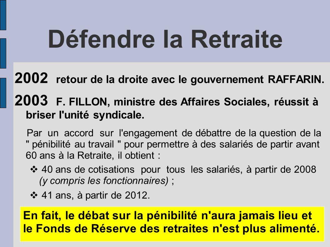 Défendre la Retraite 2002 retour de la droite avec le gouvernement RAFFARIN.