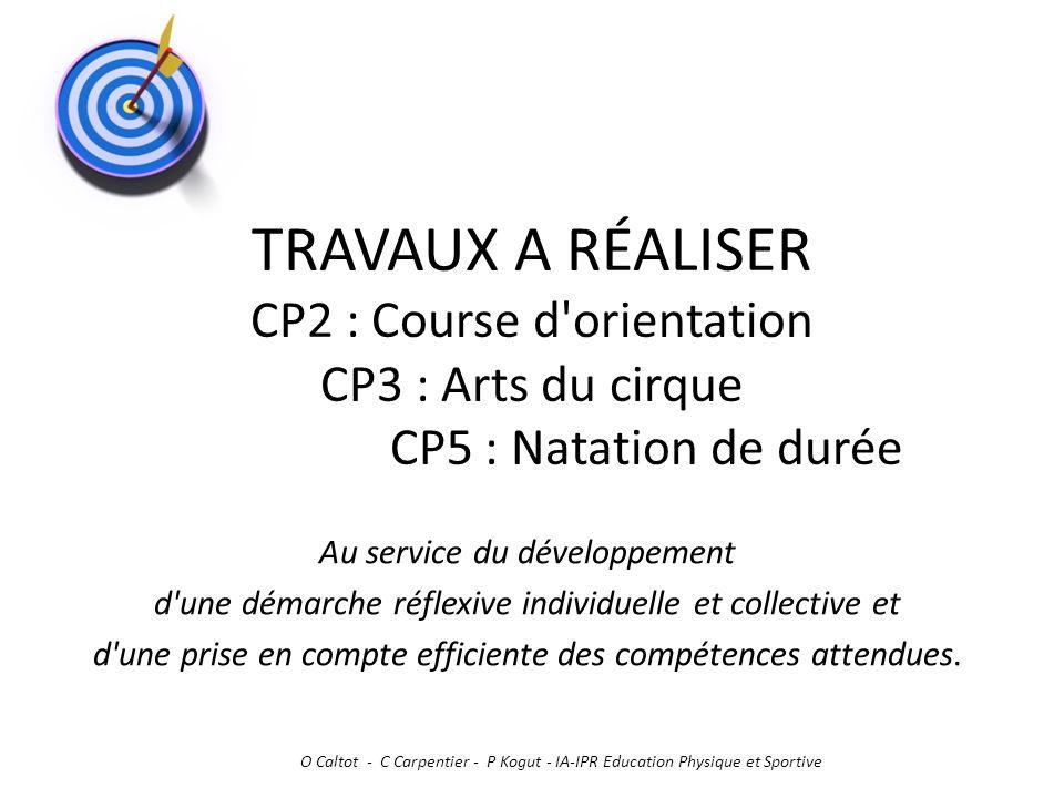 TRAVAUX A RÉALISER CP2 : Course d orientation CP3 : Arts du cirque CP5 : Natation de durée