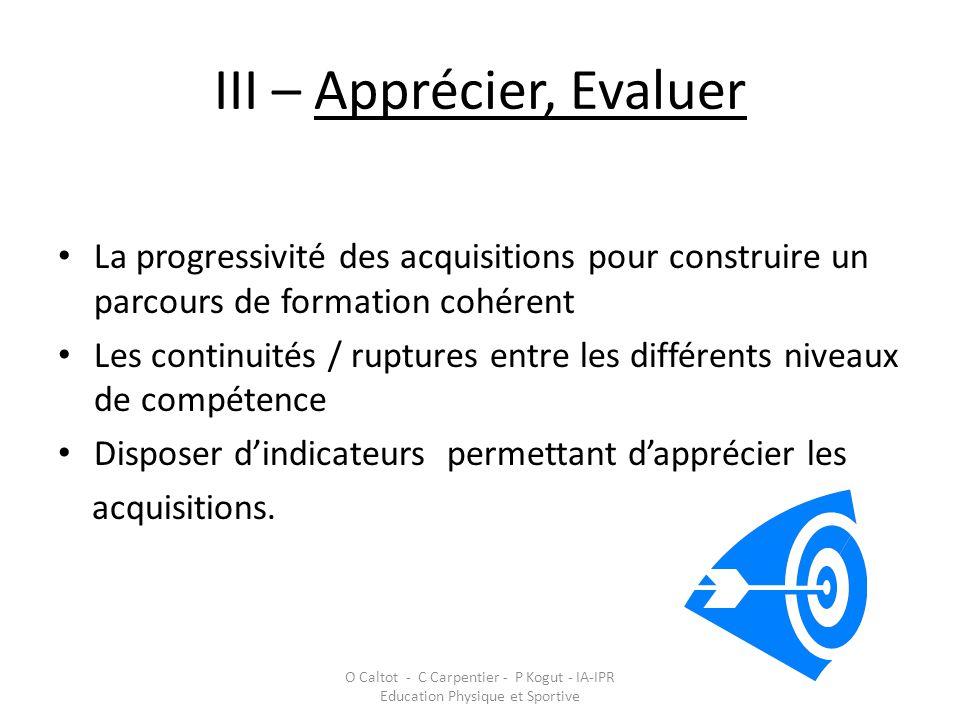 III – Apprécier, Evaluer