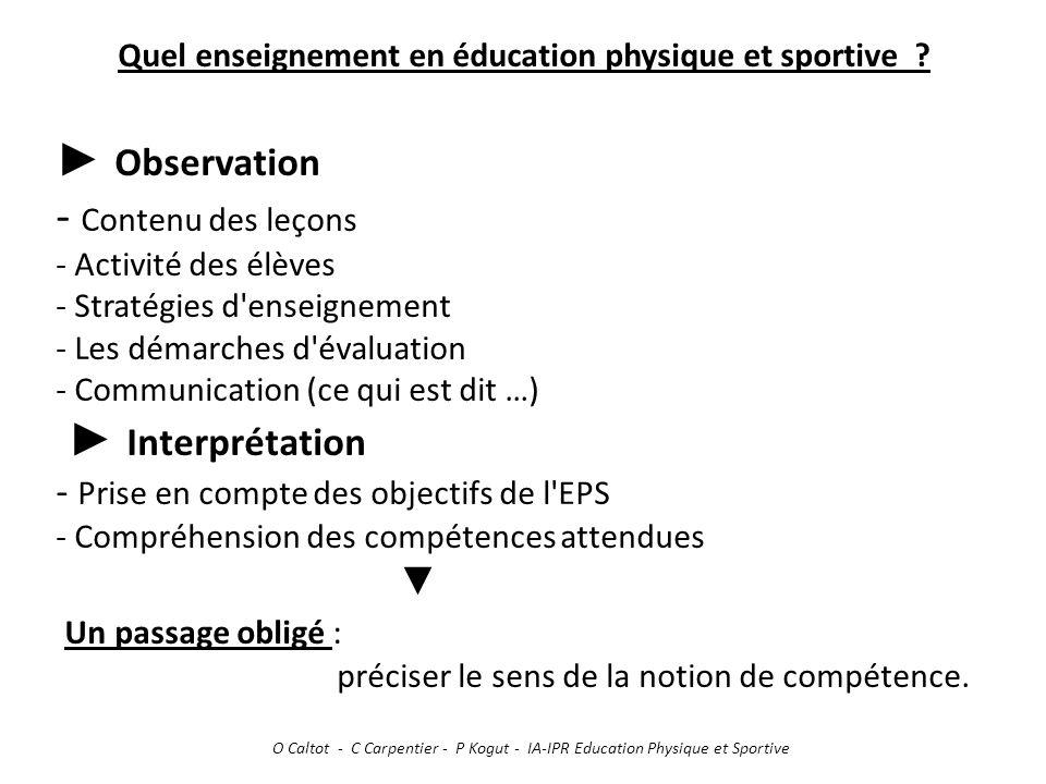Quel enseignement en éducation physique et sportive