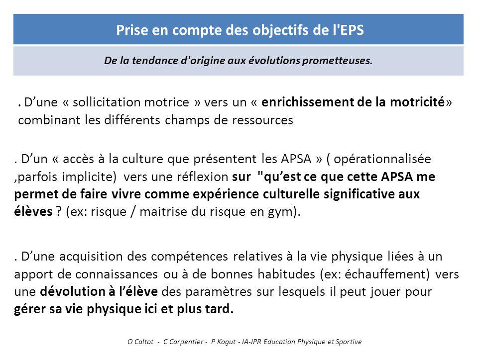 Prise en compte des objectifs de l EPS