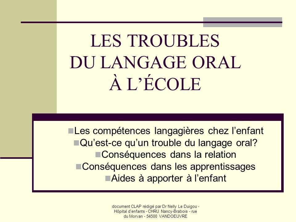 LES TROUBLES DU LANGAGE ORAL À L'ÉCOLE