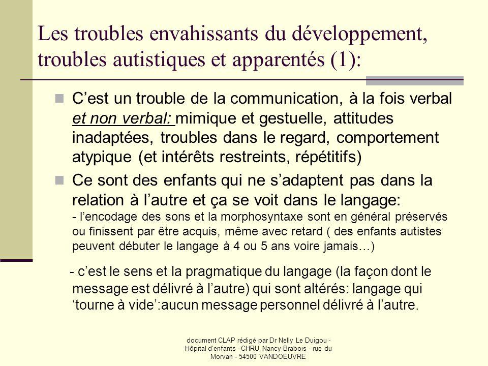 Les troubles envahissants du développement, troubles autistiques et apparentés (1):