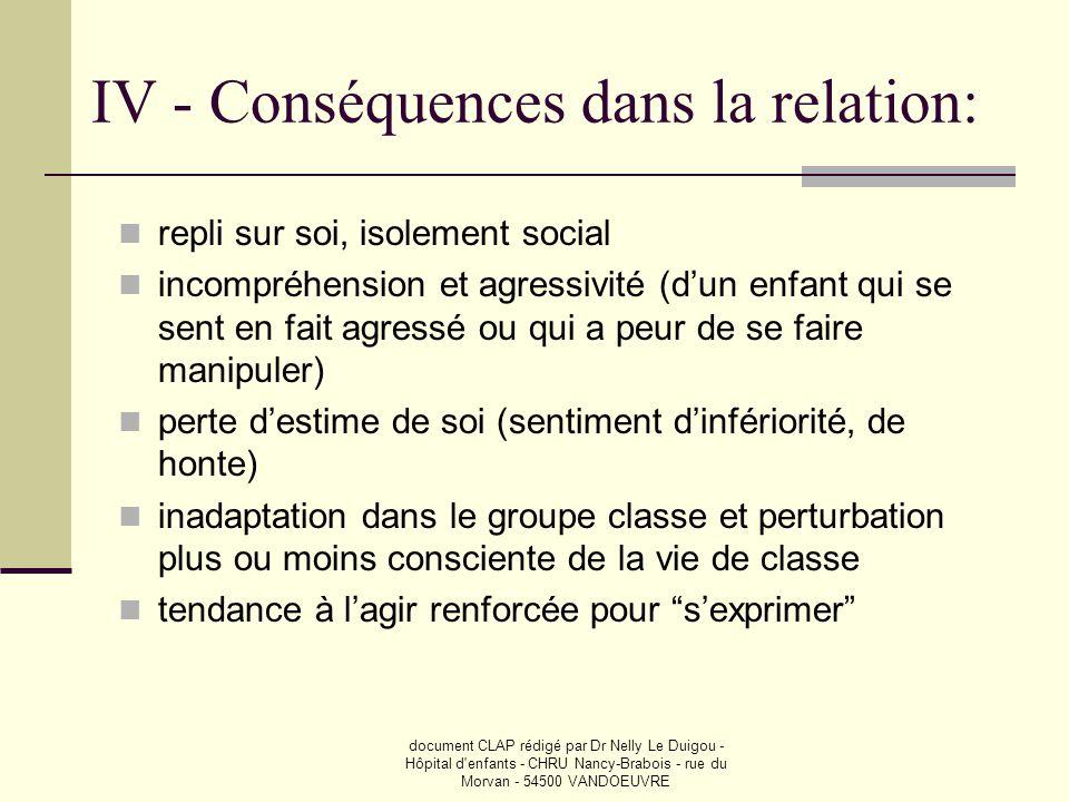 IV - Conséquences dans la relation: