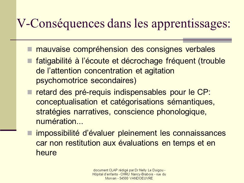V-Conséquences dans les apprentissages: