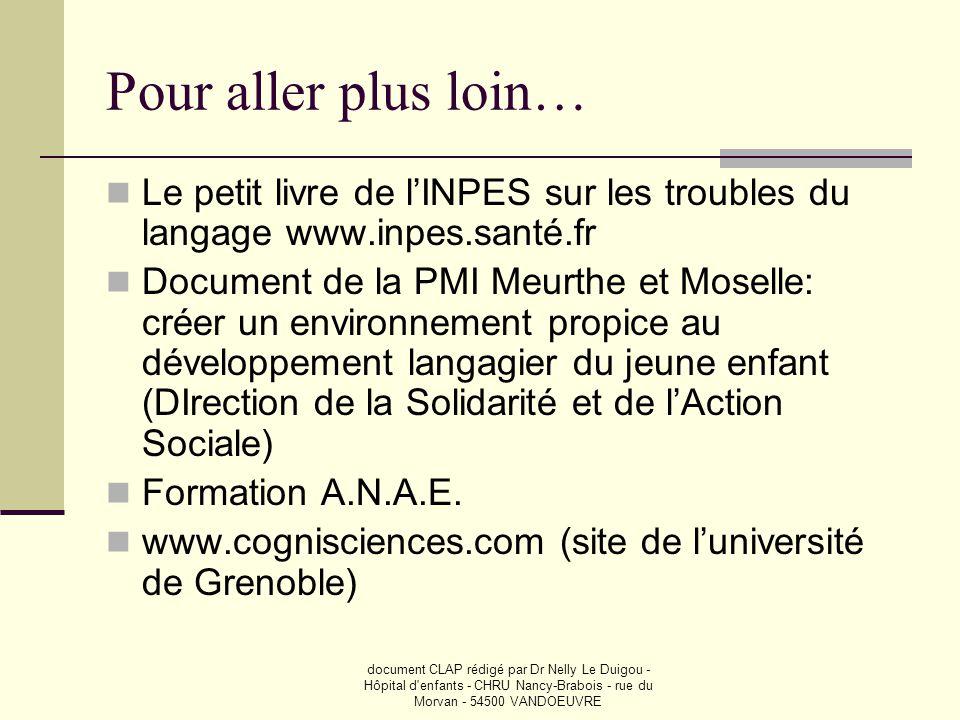 Pour aller plus loin… Le petit livre de l'INPES sur les troubles du langage www.inpes.santé.fr.