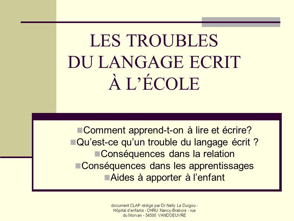 LES TROUBLES DU LANGAGE ECRIT À L'ÉCOLE