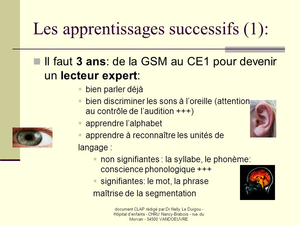 Les apprentissages successifs (1):