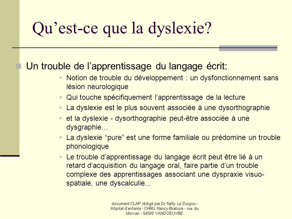 Qu'est-ce que la dyslexie