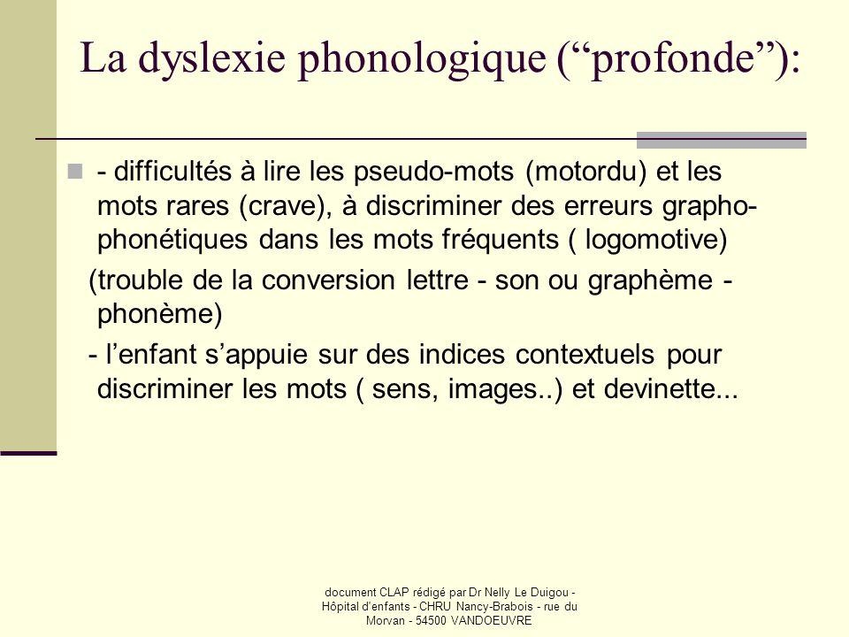 La dyslexie phonologique ( profonde ):