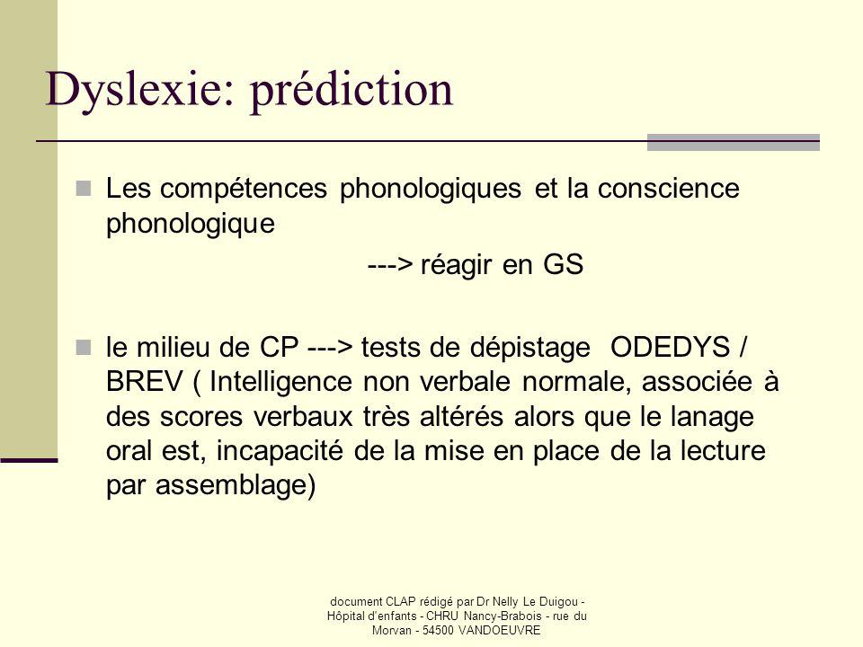 Dyslexie: prédiction Les compétences phonologiques et la conscience phonologique. ---> réagir en GS.