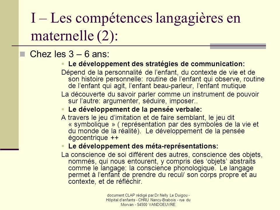 I – Les compétences langagières en maternelle (2):