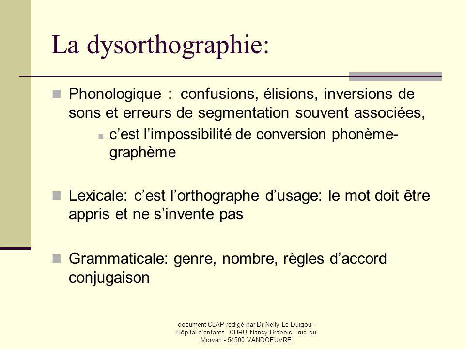 La dysorthographie: Phonologique : confusions, élisions, inversions de sons et erreurs de segmentation souvent associées,
