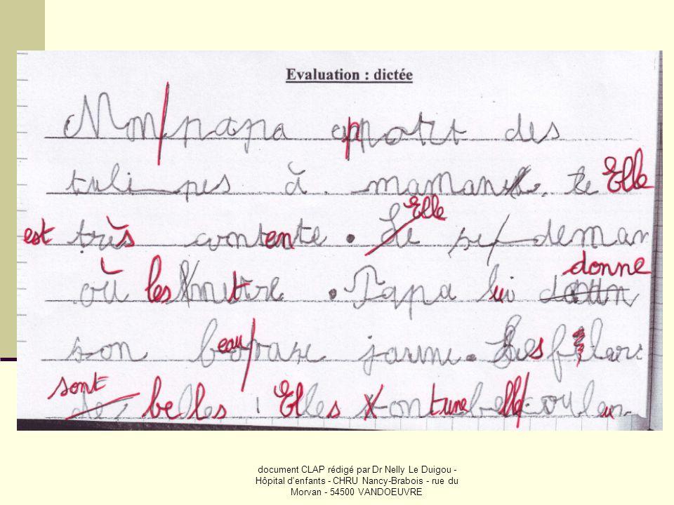 document CLAP rédigé par Dr Nelly Le Duigou - Hôpital d enfants - CHRU Nancy-Brabois - rue du Morvan - 54500 VANDOEUVRE
