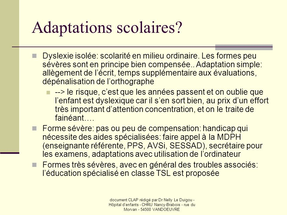 Adaptations scolaires