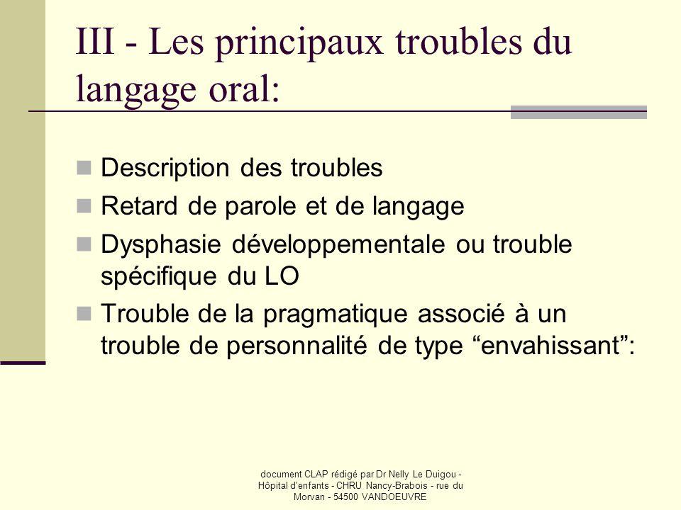 III - Les principaux troubles du langage oral: