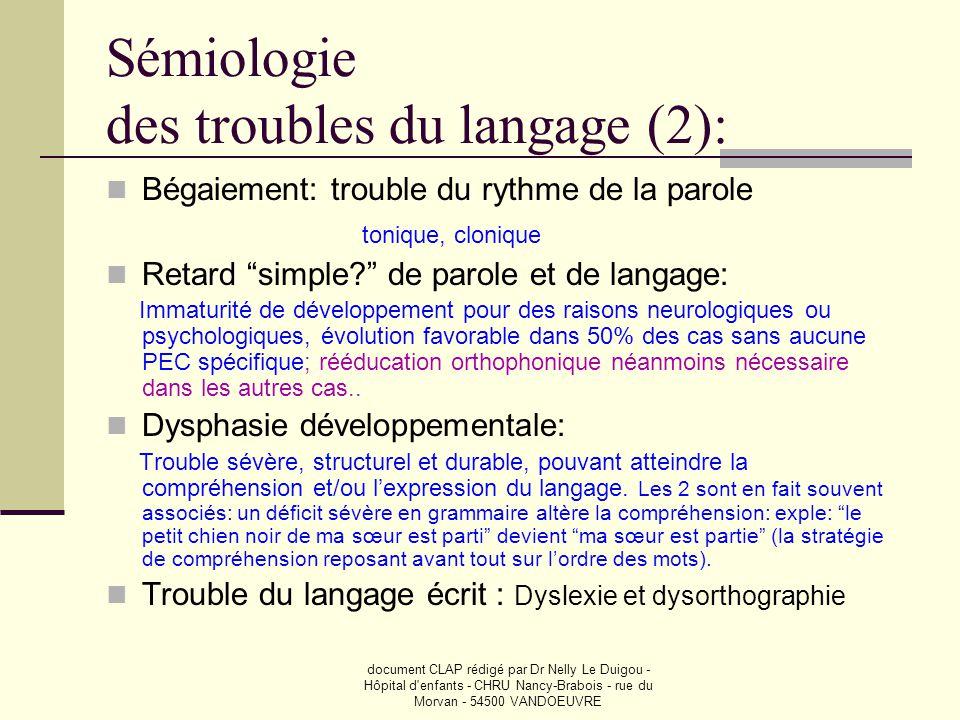 Sémiologie des troubles du langage (2):