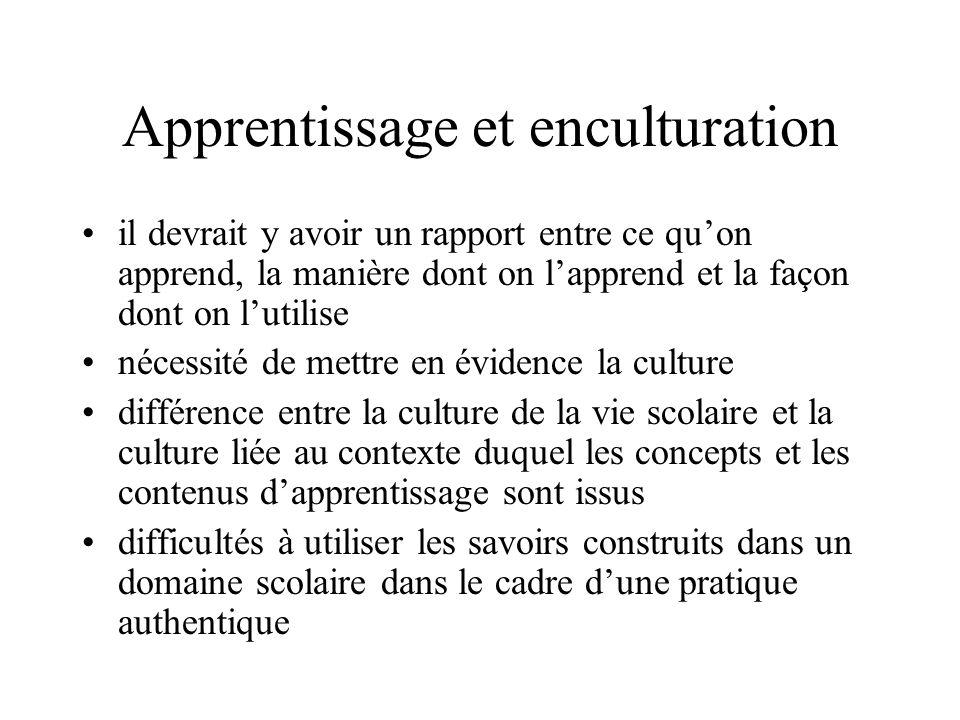 Apprentissage et enculturation