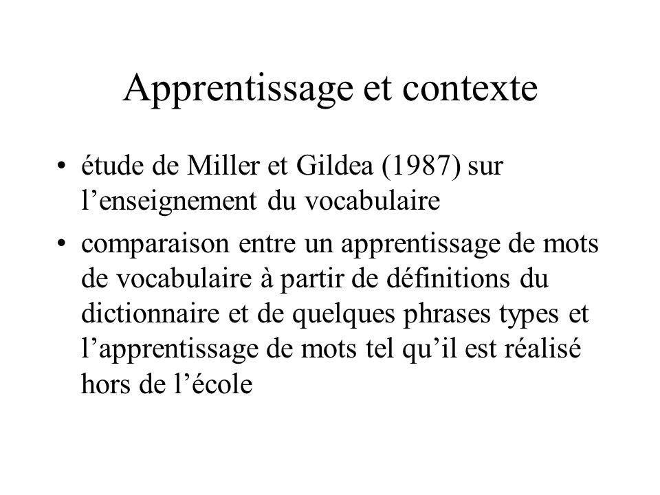 Apprentissage et contexte
