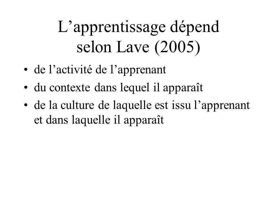 L'apprentissage dépend selon Lave (2005)