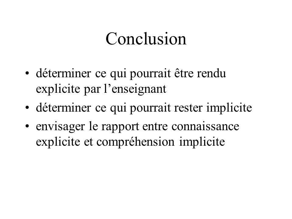 Conclusion déterminer ce qui pourrait être rendu explicite par l'enseignant. déterminer ce qui pourrait rester implicite.