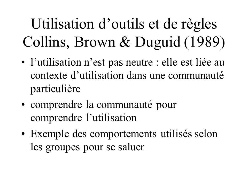 Utilisation d'outils et de règles Collins, Brown & Duguid (1989)