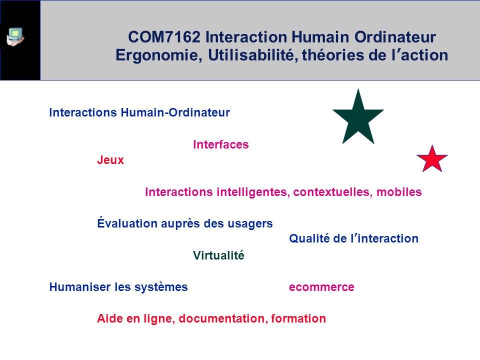 COM7162 Interaction Humain Ordinateur Ergonomie, Utilisabilité, théories de l'action