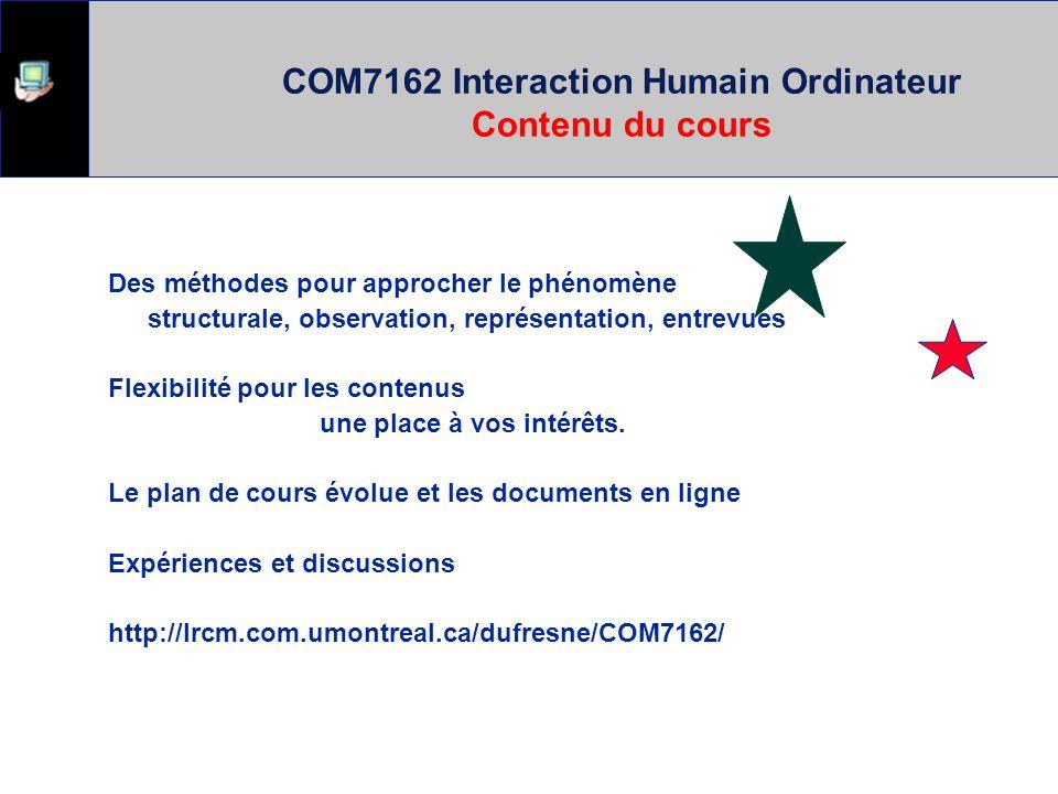 COM7162 Interaction Humain Ordinateur Contenu du cours
